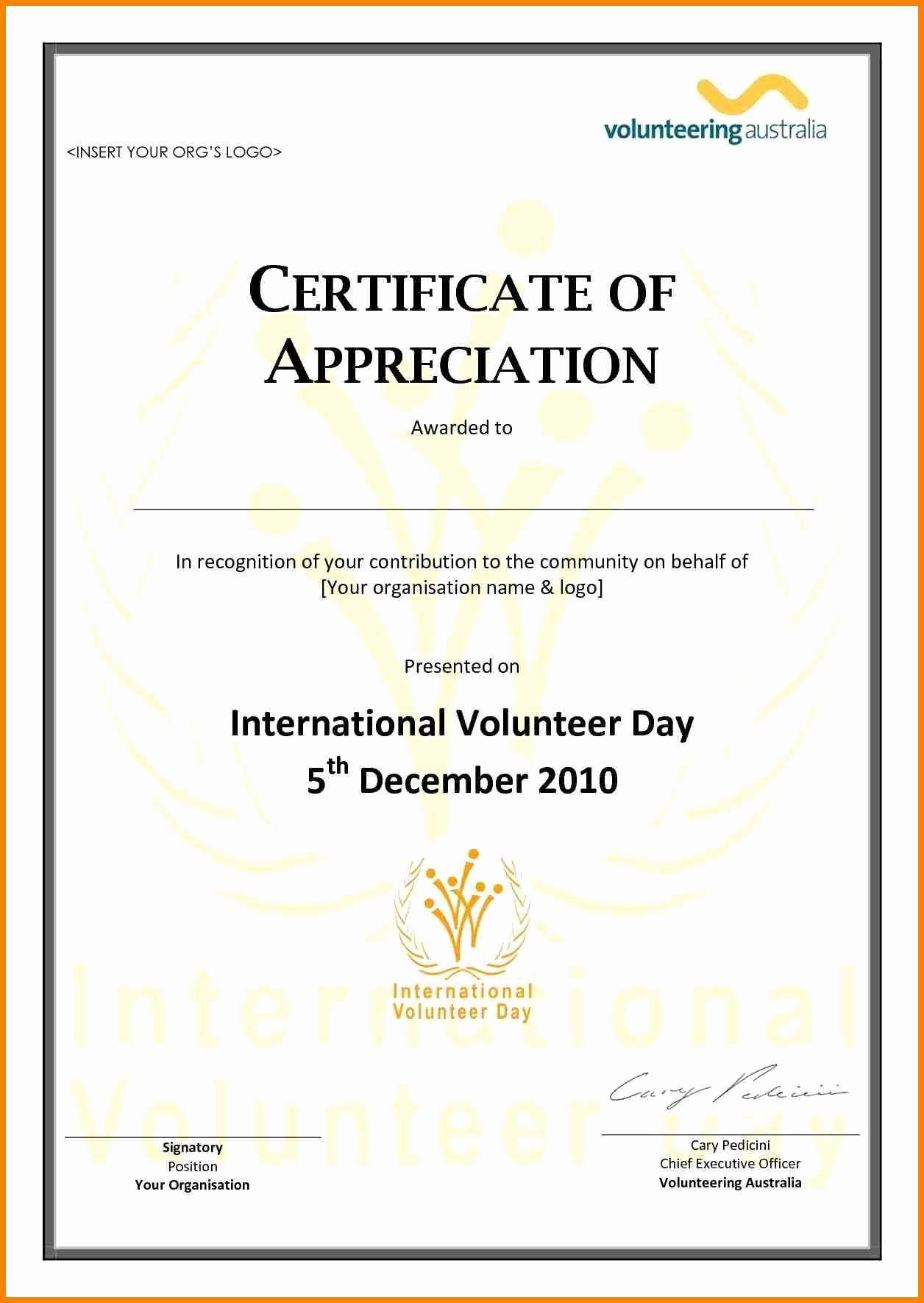 Volunteer Appreciation Certificate Templates Luxury Volunteer Appreciation Certificate Template