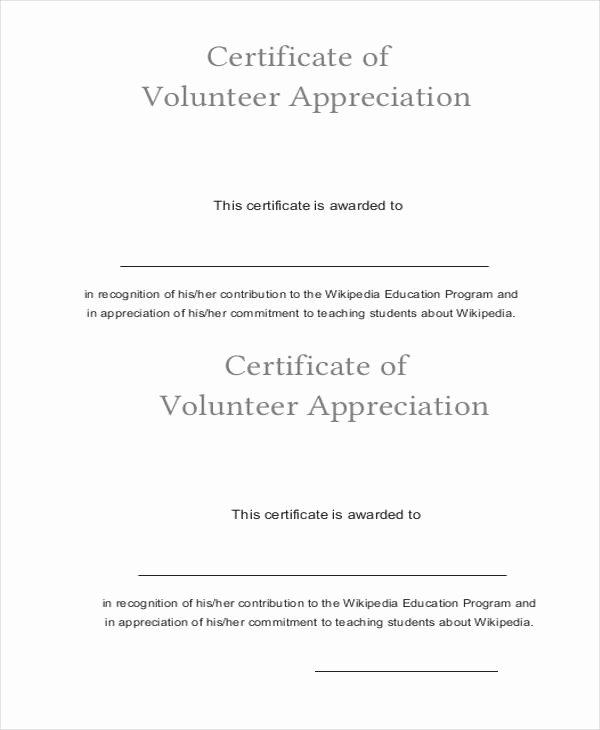 Volunteer Appreciation Certificate Templates New 33 Certificate Of Appreciation Template Download now