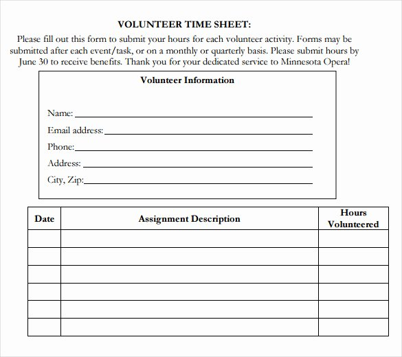 Volunteer Hours Log Template Luxury Volunteer Hour forms Template