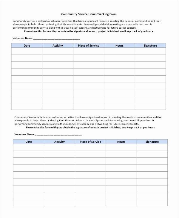 Volunteer Hours Log Template Unique Sample Munity Service form 10 Examples In Pdf Word