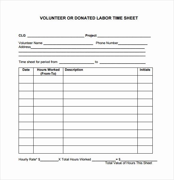 Volunteer Log Sheet Template Elegant 10 Volunteer Timesheet Samples