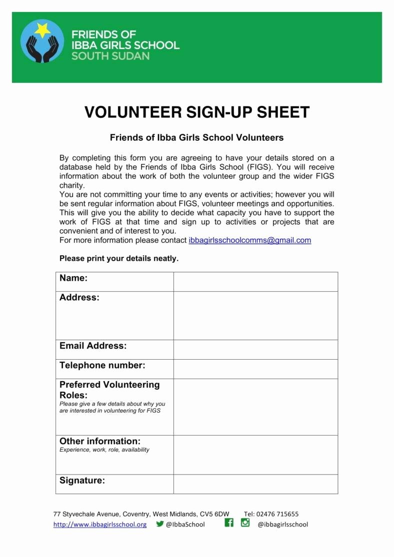 Volunteer Sign Up Sheet Templates Awesome 10 Volunteer Sign Up Sheet Templates Pdf
