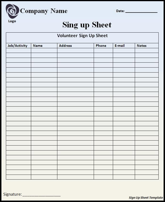 Volunteer Sign Up Sheet Templates Awesome Volunteer Sign Up Sheet Template Free