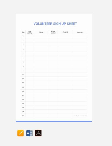 Volunteer Sign Up Sheet Templates Beautiful 14 Sign Up Sheet Examples Templates In Word Pages Docs