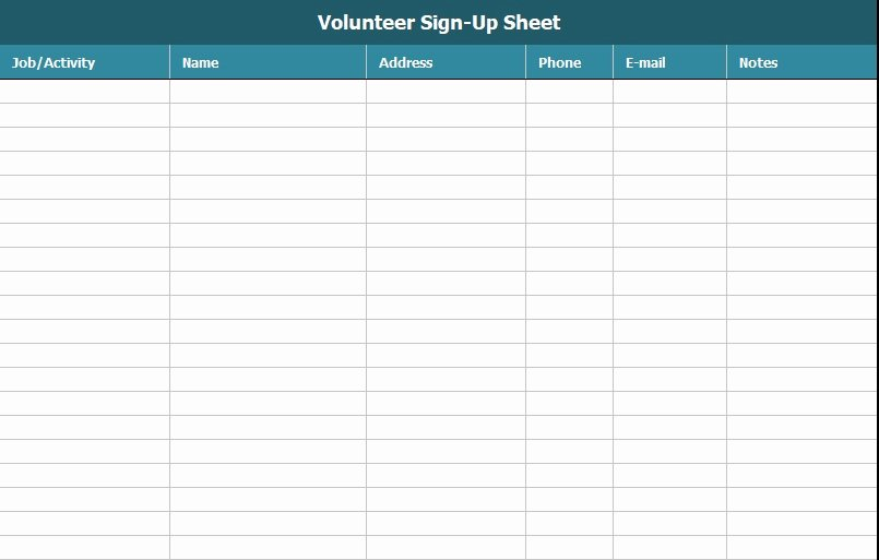 Volunteer Sign Up Sheet Templates Beautiful Free Sign Up Sheet Template Excel and Word Excel Tmp