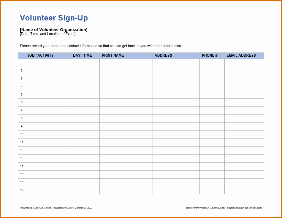 Volunteer Sign Up Sheet Templates Fresh 10 Volunteer Sign Up Sheet Template