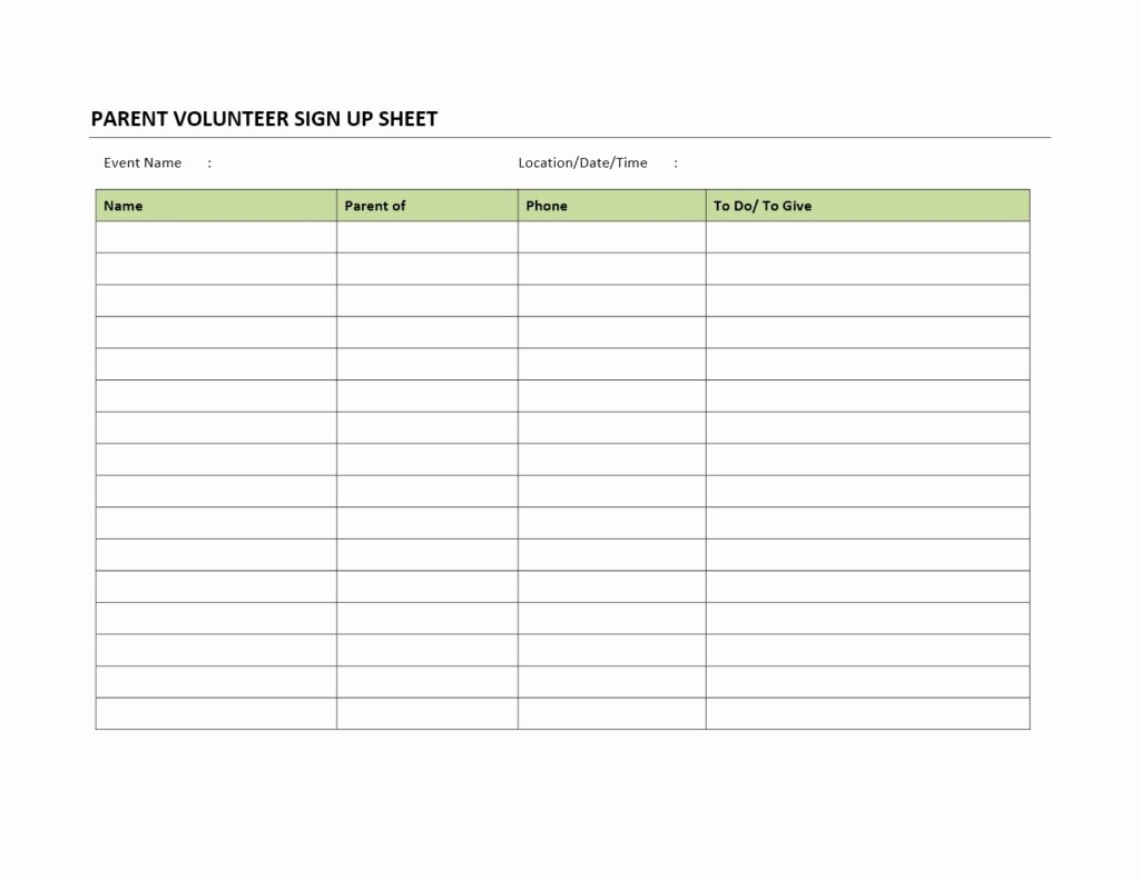 Volunteer Sign Up Sheet Templates Inspirational Parent Volunteer Sign Up Sheet