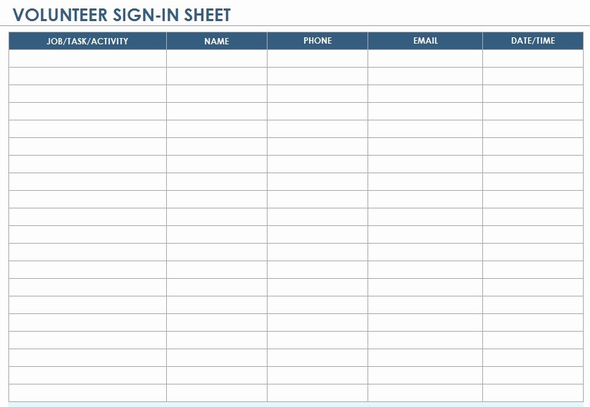 Volunteer Sign Up Sheet Templates Lovely 10 Free Sample Volunteer Sign In Sheet Templates