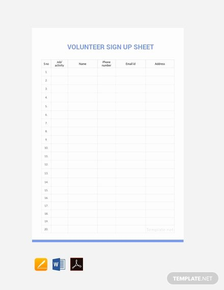 Volunteer Sign Up Sheet Templates Lovely Free Potluck Sign Up Sheet Template Download 382 Sheets