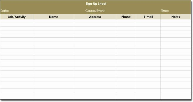 Volunteer Sign Up Sheet Templates Lovely Signup Sheet Templates 40 Sheets