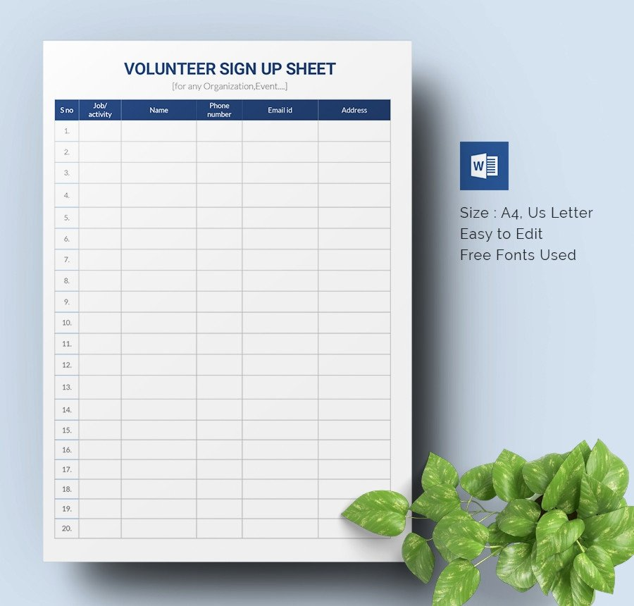 Volunteer Sign Up Sheet Templates Luxury Sign Up Sheets 64 Free Word Excel Pdf Documents
