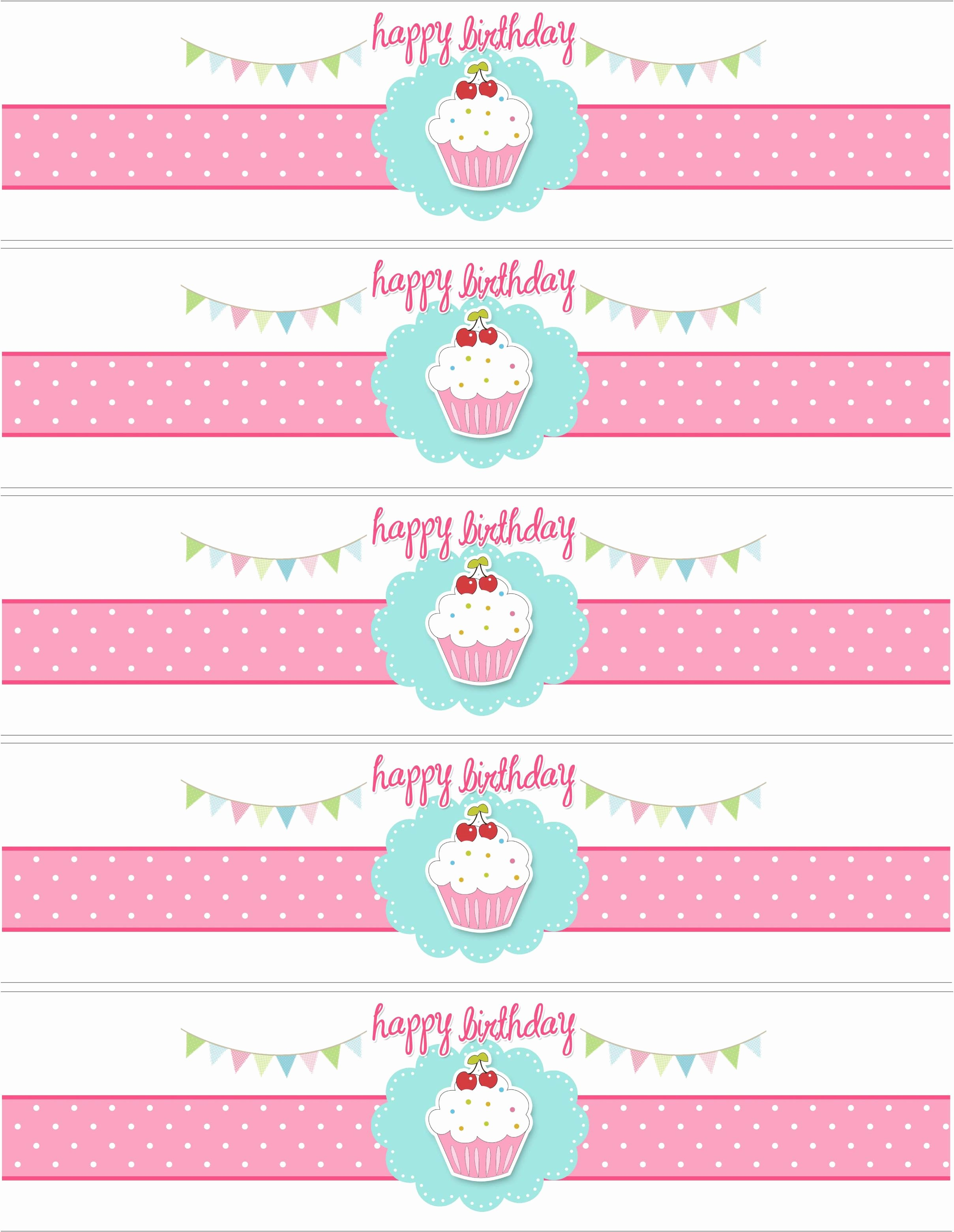 Water Bottle Label Template Free Elegant Cupcake themed Birthday Party with Free Printables