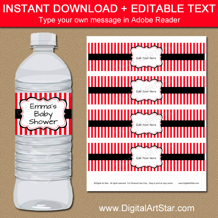 Water Bottle Label Template Free Fresh Red and Black Water Bottle Label Template Printable