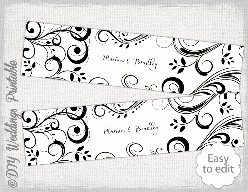 Water Bottle Label Template Free Unique Diy Water Bottle Label Template Black and White