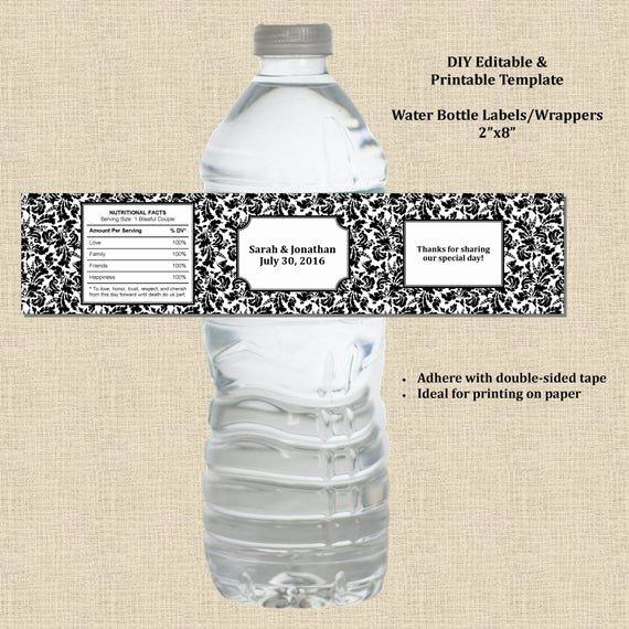 Water Bottle Labels Template Word Awesome Wedding Water Bottle Label Wrapper 2×8 Black White Damask
