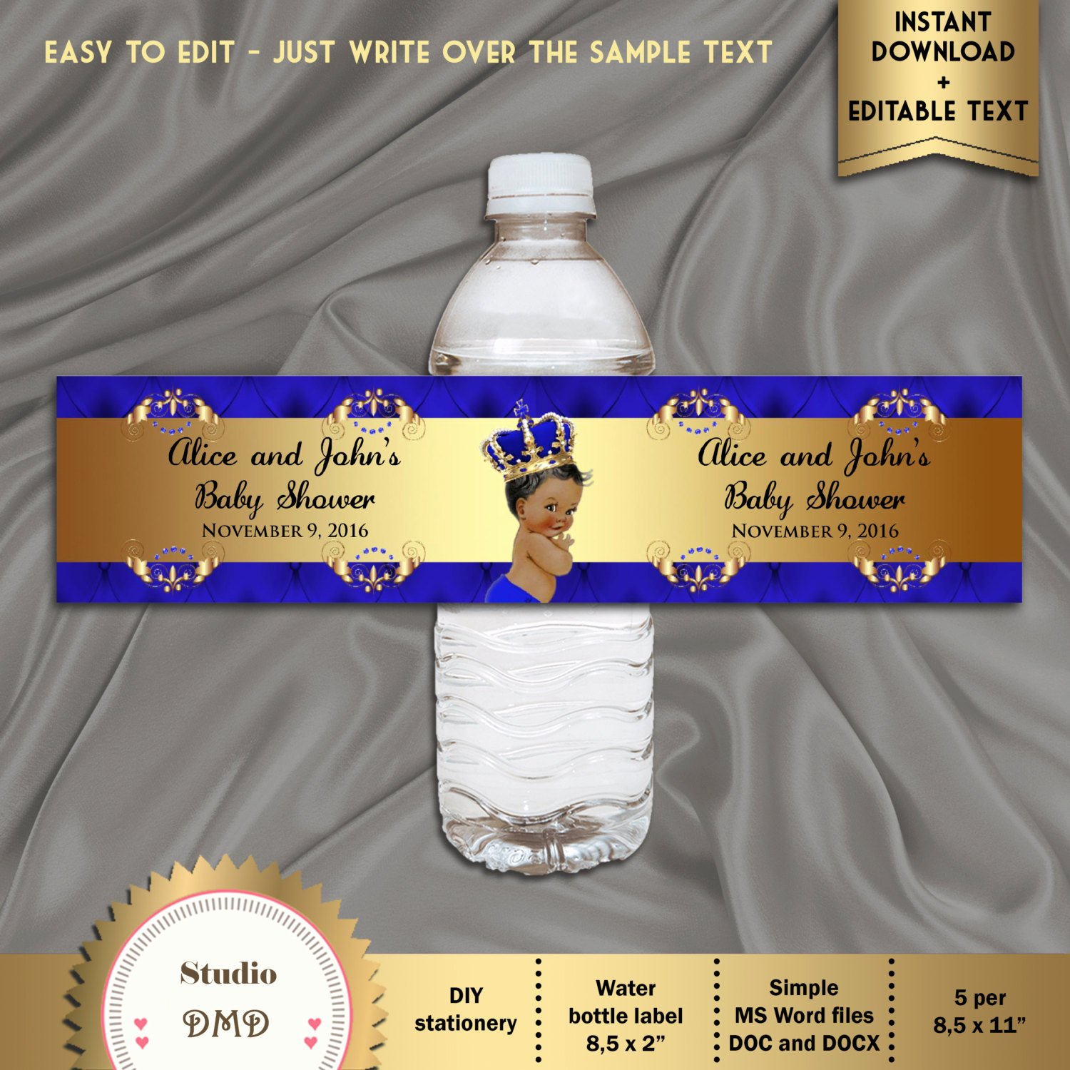 Water Bottle Labels Template Word Inspirational Printable Baby Shower Water Bottle Labels Royal Baby Shower