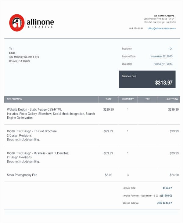 Web Design Invoice Template Awesome Sample Web Design Invoice 7 Examples In Pdf Word