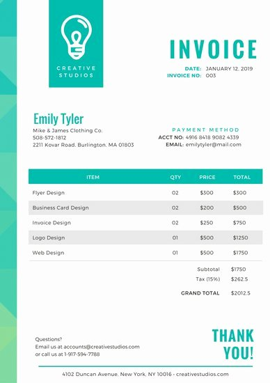 Web Design Invoice Template Unique Customize 203 Invoice Templates Online Canva