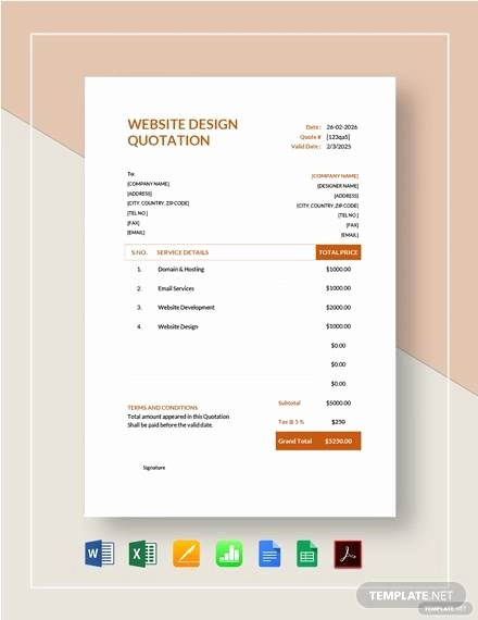 Website Design Quotation Template Beautiful 8 Website Quotations Free Sample Example format Download