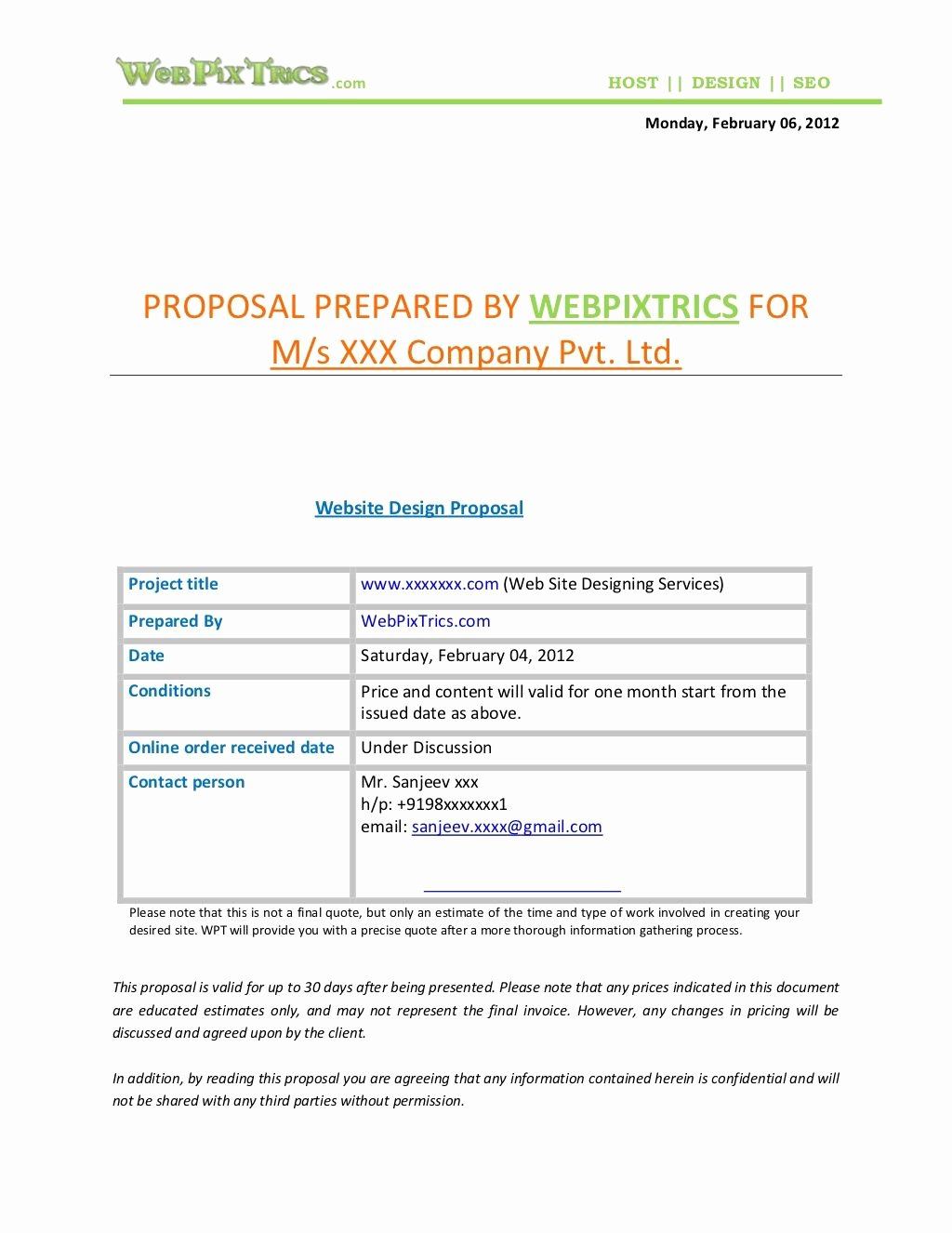 Website Proposal Template Doc Lovely Web Design Proposal Sample by Webpixtrics Via