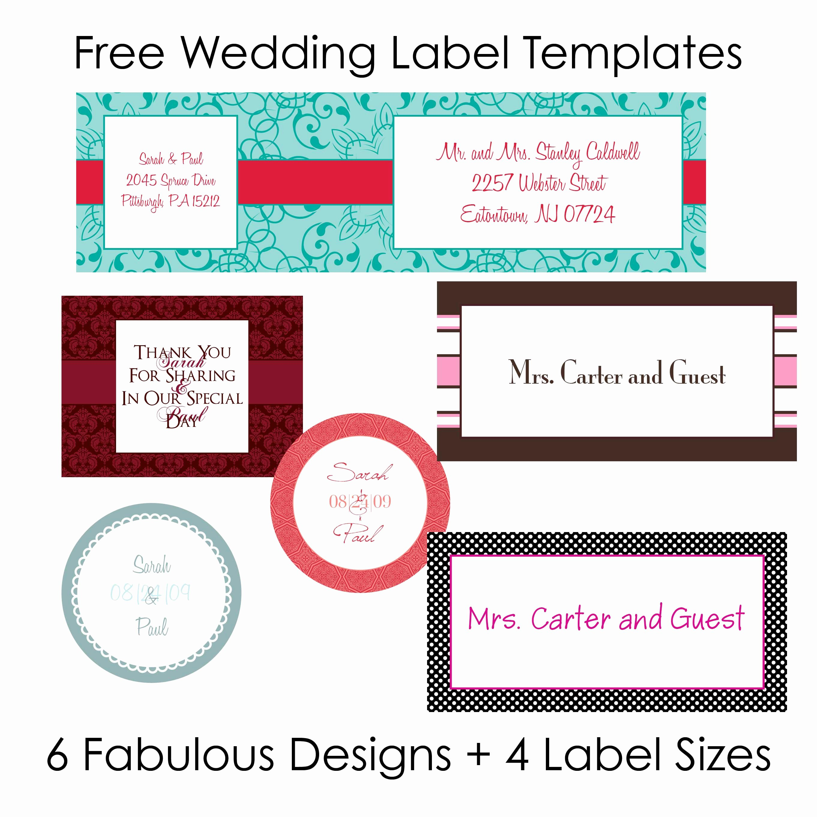 Wedding Address Label Template Beautiful Diy Wedding Labels for Free Collection Two