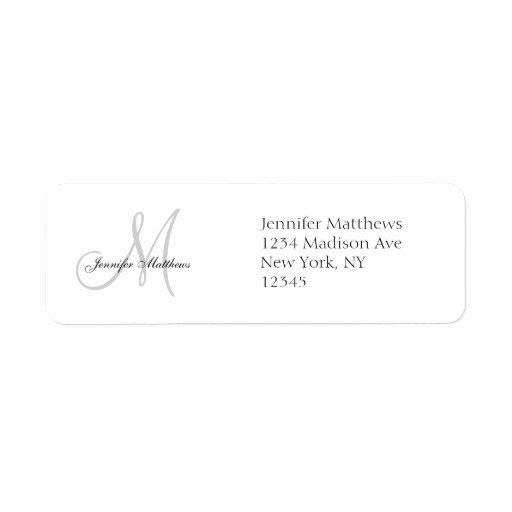 Wedding Address Label Template Best Of Monogram Wedding Invitation Simple Address Labels