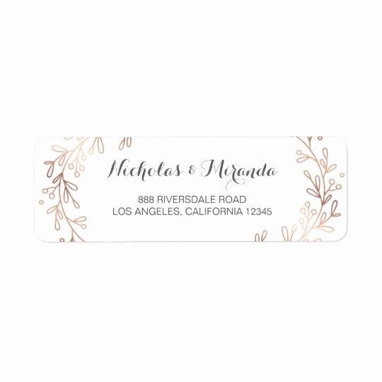 Wedding Address Label Template Best Of Wedding Return Address Labels Laurel Rose Gold Label
