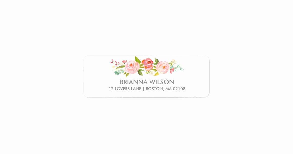Wedding Address Label Template Fresh Rose Garden Floral White Return Address Label
