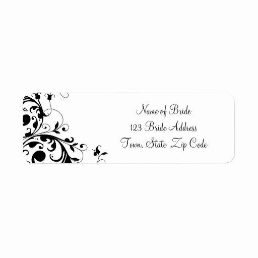 Wedding Address Label Template Lovely Black White Swirl Wedding Return Address Label