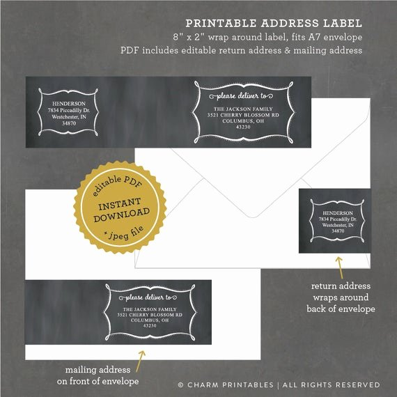 Wedding Address Labels Template Beautiful Items Similar to Chalkboard Address Labels Printable Wrap