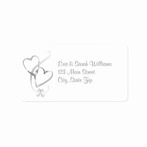 Wedding Address Labels Template Beautiful Silver Hearts Wedding Address Labels