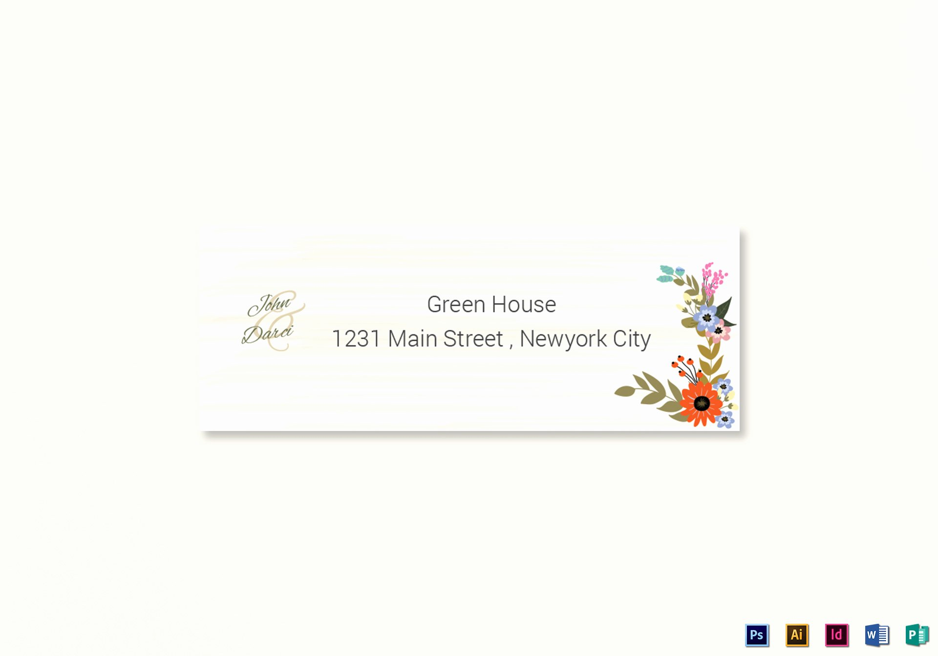 summer floral wedding address labels card