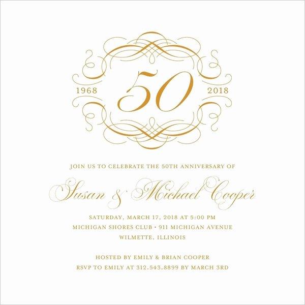 Wedding Anniversary Invitation Templates Awesome 50th Wedding Anniversary Invitations Free Template