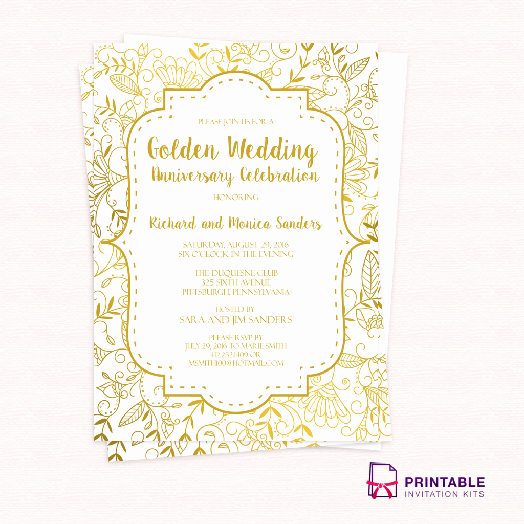 Wedding Anniversary Invitation Templates Awesome Free Pdf Template Golden Wedding Anniversary Invitation