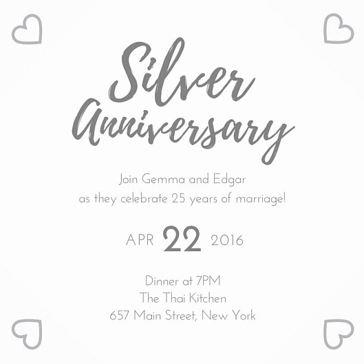 Wedding Anniversary Invitation Templates Awesome Silver 25th Wedding Anniversary Invitation Templates by