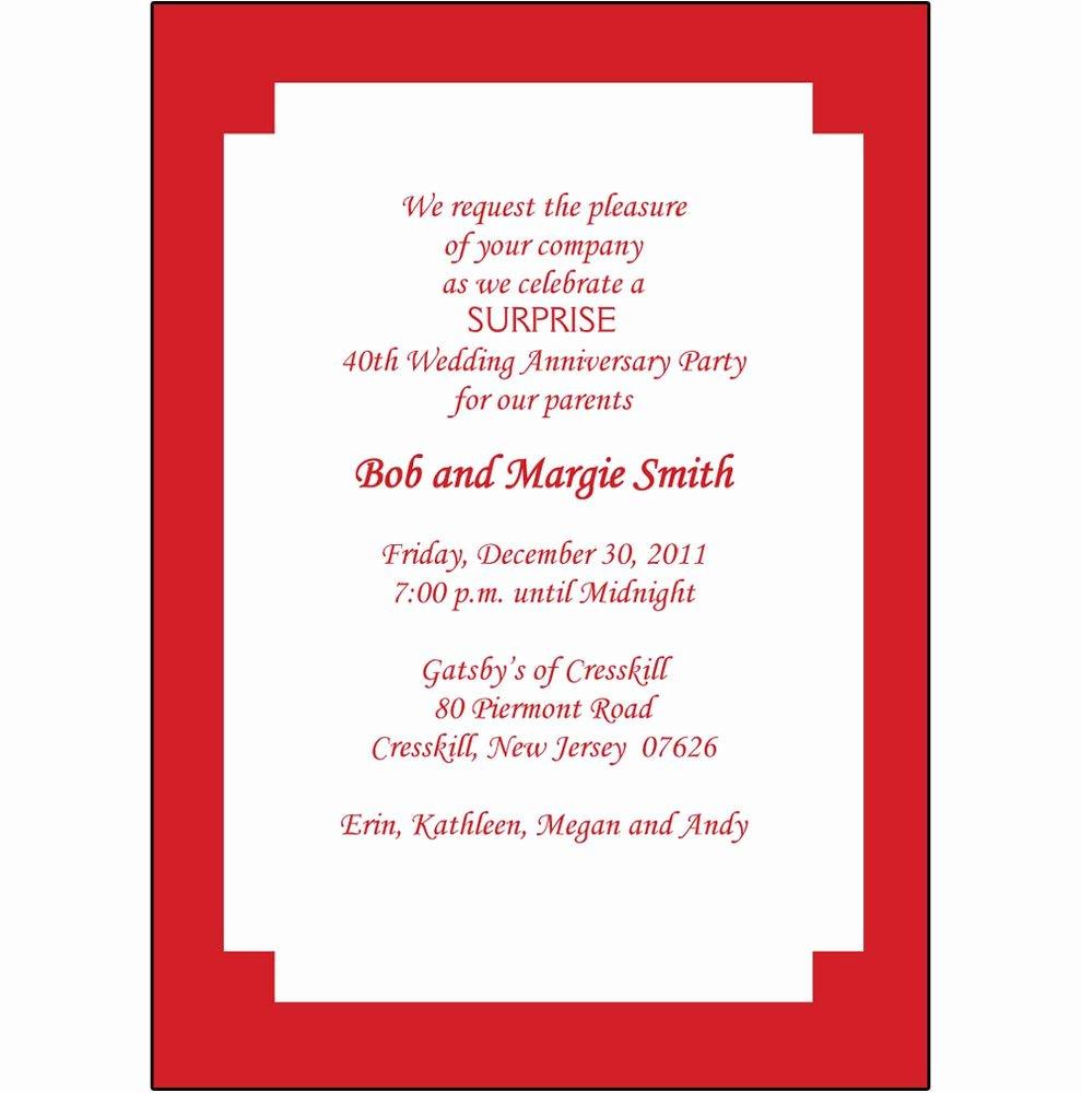 Wedding Anniversary Invitation Templates Beautiful 40th Wedding Anniversary Invitation Templates