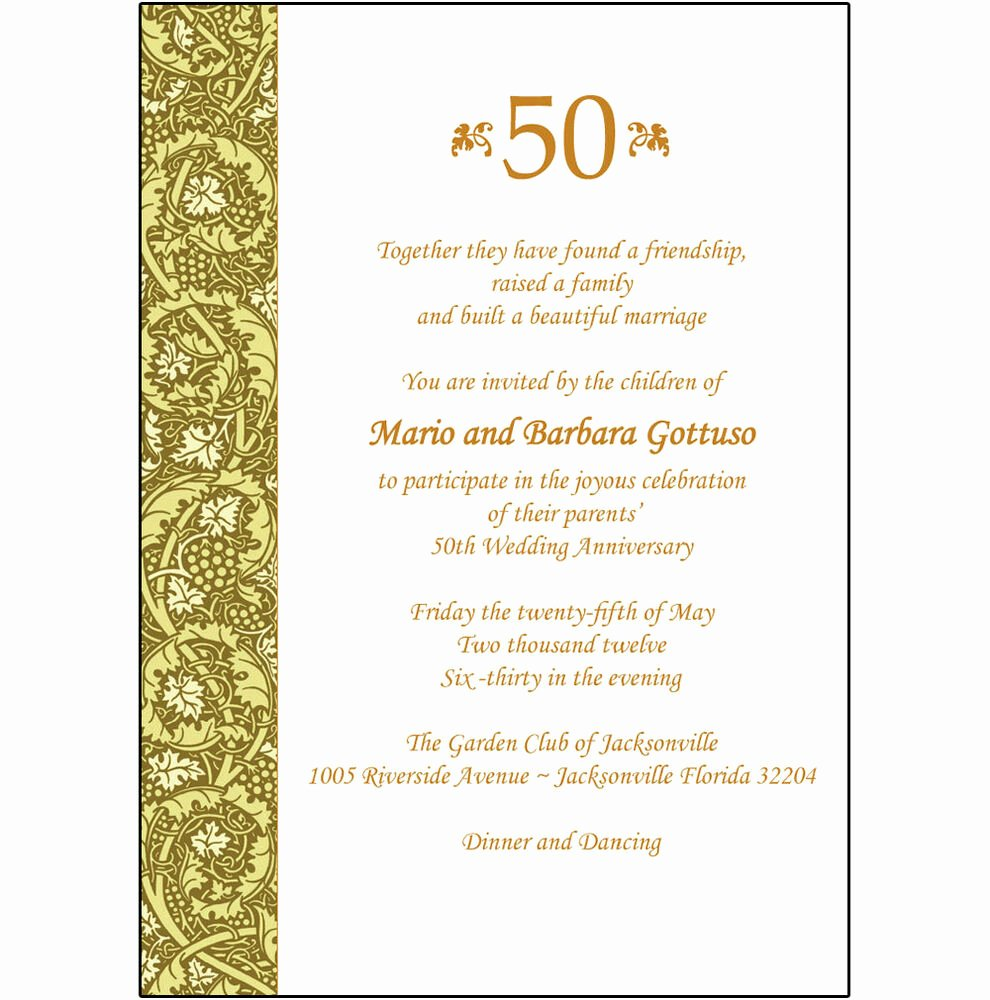 Wedding Anniversary Invitation Templates Elegant 25 Personalized 50th Wedding Anniversary Party Invitations