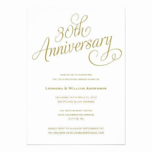 Wedding Anniversary Invitation Templates Elegant Personalized 30th Anniversary Invitations