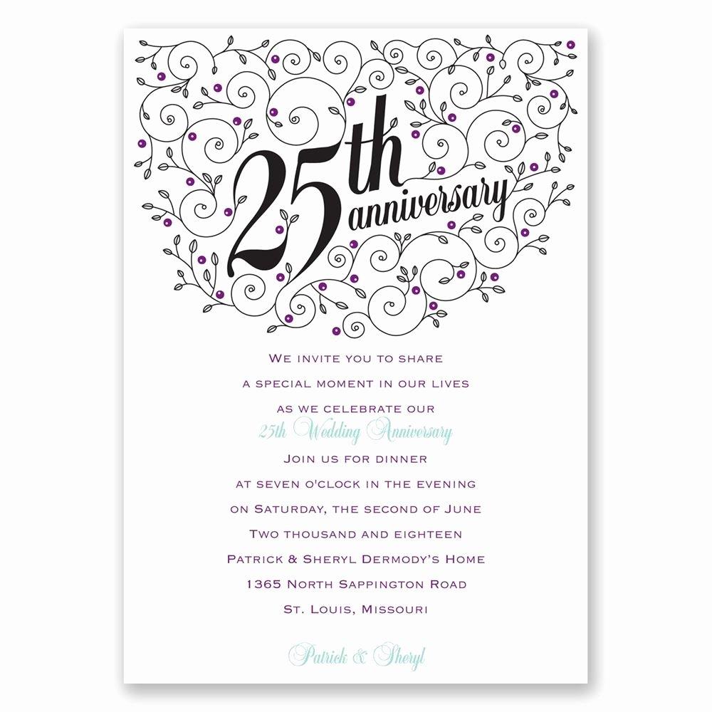 Wedding Anniversary Invitation Templates New forever Filigree 25th Anniversary Invitation