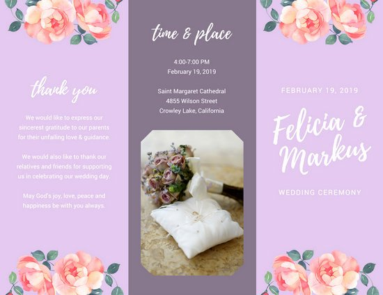 Wedding Brochure Template Free Beautiful Lilac Floral Wedding Ceremony Brochure Templates