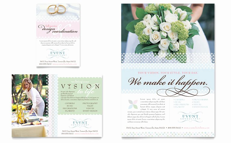 Wedding Brochure Template Free Beautiful Wedding & event Planning Flyer & Ad Template Word