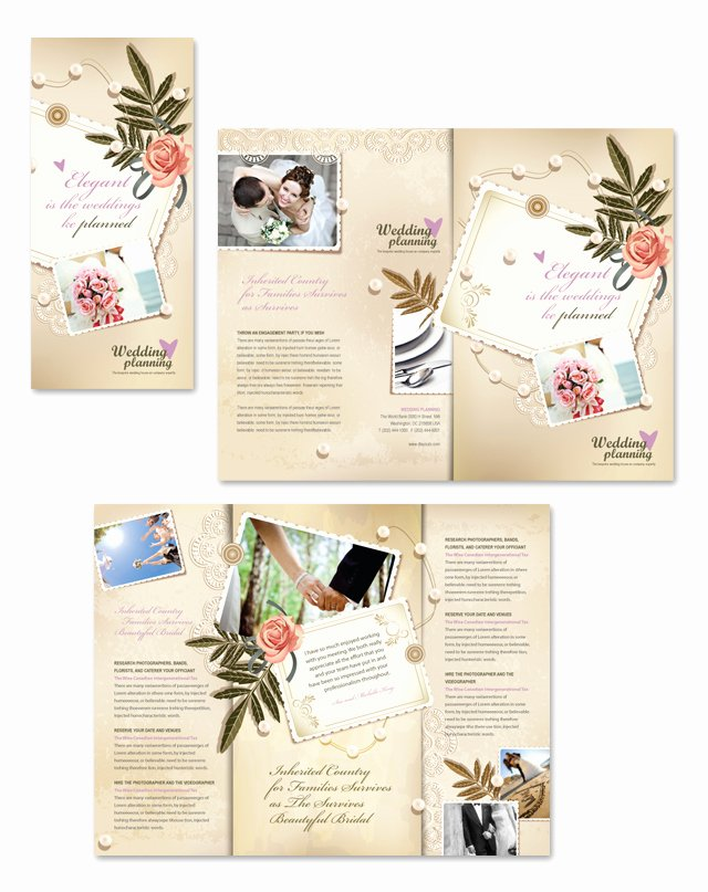 Wedding Brochure Template Free Beautiful Wedding Planner Tri Fold Brochure Template
