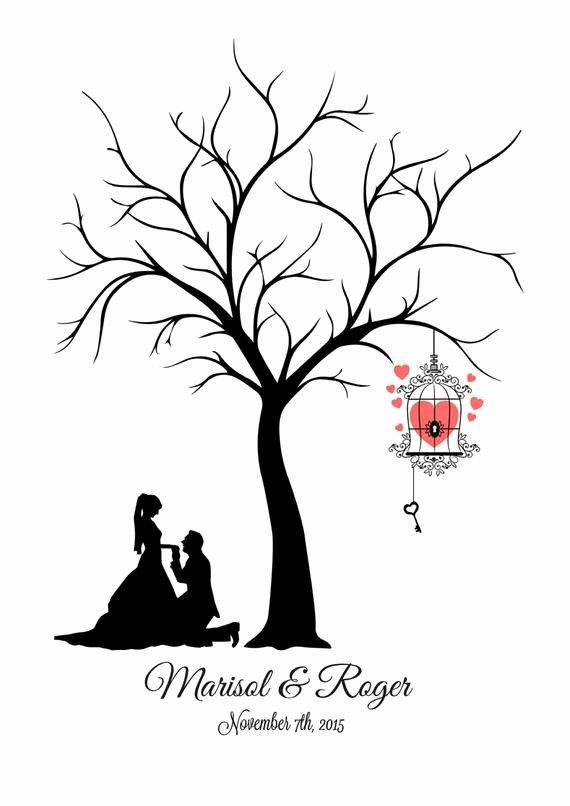 Wedding Guest Book Template Fresh Canvas Fingerprint Tree Wedding Tree Guest Book Template