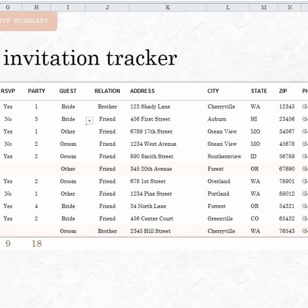 Wedding Guest List Template Excel Awesome 7 Free Wedding Guest List Templates and Managers In