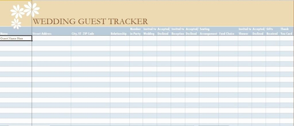 Wedding Guest List Template Excel Awesome Wedding Guest List Spreadsheet Template