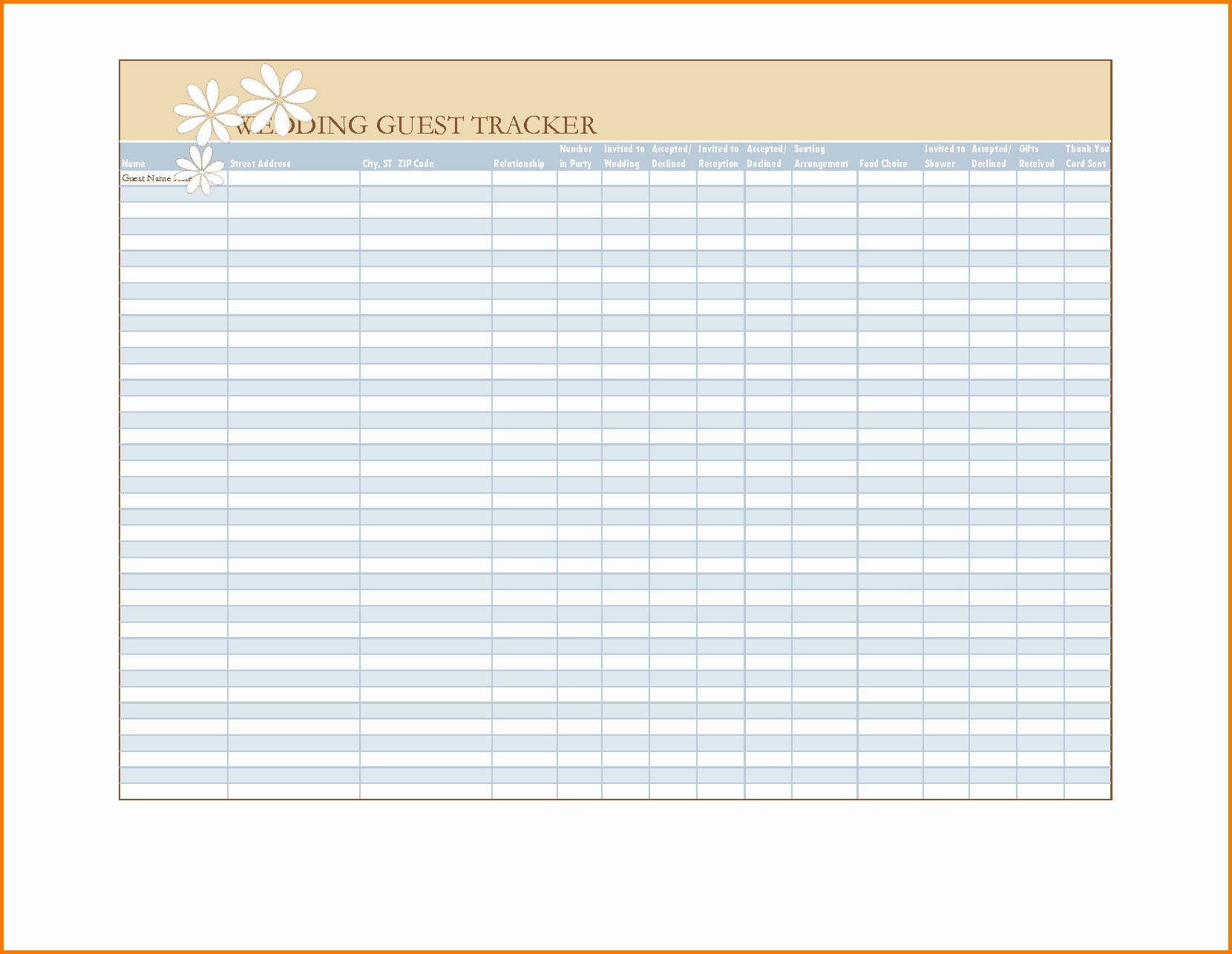 Wedding Guest List Template Excel Awesome Wedding Guest List Template Excel