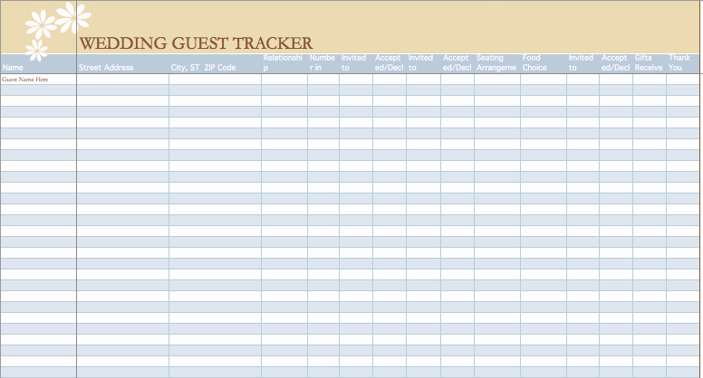 Wedding Guest List Template Excel Awesome Wedding Guest List Template