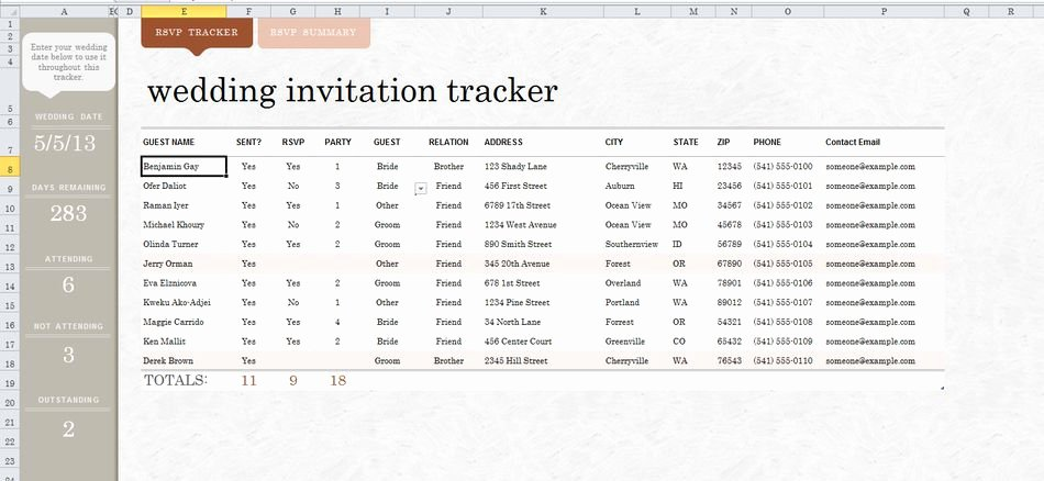 Wedding Guest List Template Excel Elegant 7 Free Wedding Guest List Templates and Managers