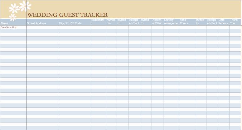 Wedding Guest List Template Excel Fresh Wedding Guest List Template