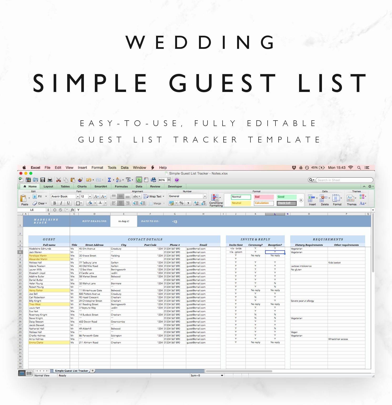 Wedding Guest List Template Excel New Wedding Guest List Spreadsheet Wedding Guest List Tracker
